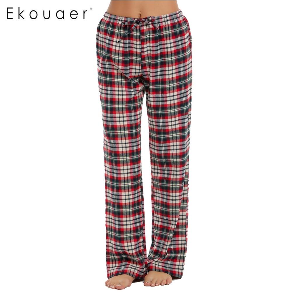 Ekouaer Women Cotton Sleep Bottoms Elastic Waist Plaid Long Pajama Bottom Lounge Pants Plaid Casual Loose Home Clothing S-XXL