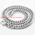 New Charming 18/21MM Super Heavy Thick Mens Chain Curb Cuban Silver Polished 316L Stainless Steel Necklace Bracelet Custom 7-40""