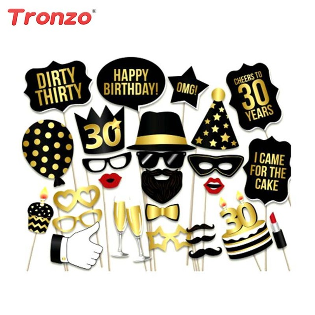 Tronzo 28pcs Birthday Party Photo Booth Decorations Adult 30th 40th 50th Funny Mask Happy