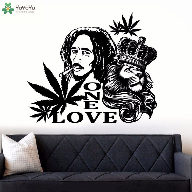 Us 6 0 25 Off Bob Marley Lion One Love Wall Sticker Living Room Decoration Decals Reggae Music Wall Art Murals Removable Wallpaper Qq502 In Wall