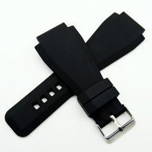 New For Bell 34 x 24mm Silicone Rubber Watch Strap Band For Ross BR-01 BR-03 Clasp Black Watchband + Tool стоимость