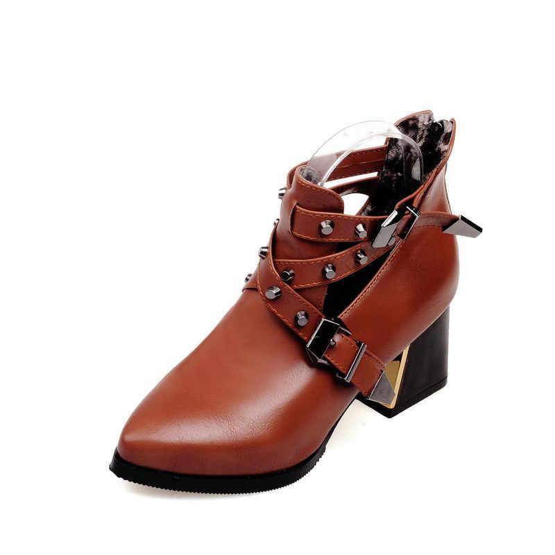 MORAZORA 2019 Neueste knöchel stiefel für frauen pu schnalle herbst winter stiefel niet zip high heels schuhe frau große größe 43 schwarz