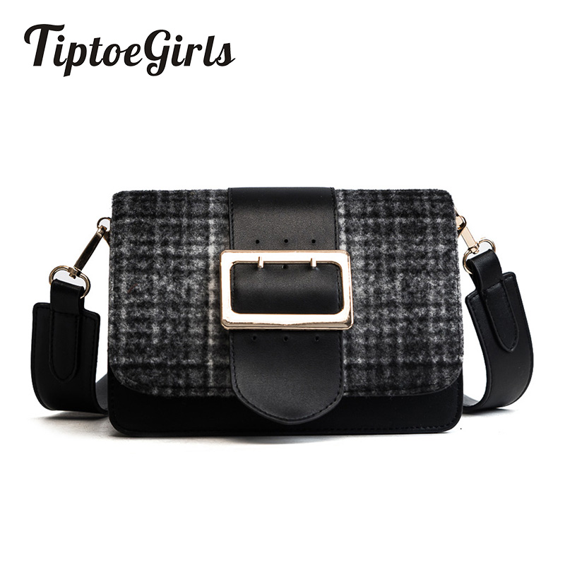 Hot New Autumn and Winter Tide Korean Version of the Retro Woolen Shoulder Small Square Bag Fashion Wild Shoulder Messenger Bag 2018 new female korean version of the bag with a small square package side buckle shoulder messenger bag packet tide