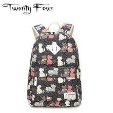 Двадцать четыре холст ноутбук рюкзаки модные кошка рюкзаки с разноцветными Pattern опция для молодых девушек школьная сумка Mochila