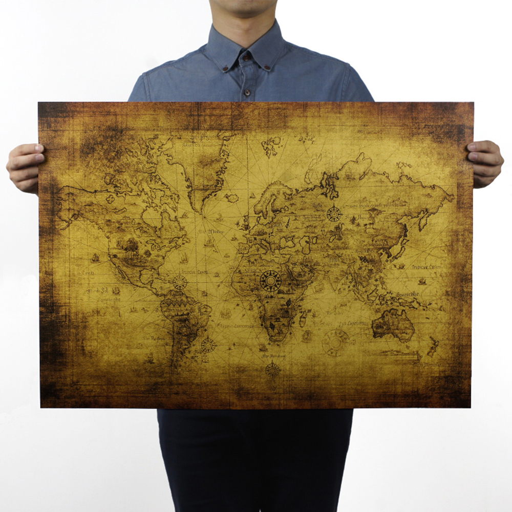 Non Water-proof World Map Large Retro Paper Map Gifts Decoration 71*51 Cm