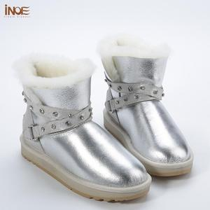 Image 3 - INOE Waterproof Sheepksin Leather Shearling Wool Fur Lined Short Winter Boots Women Ankle Snow Boots Silver Crystal Strap Shoes