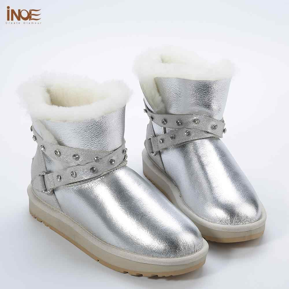 INOE/Водонепроницаемые Короткие Зимние ботильоны из овечьей кожи с меховой подкладкой; женские зимние ботинки; серебристый ремешок с кристаллами