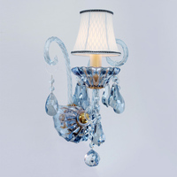 European Blue Crystal Wall Sconces E14 Modern Luxury Staircase Corridor Glass Wall Lights Bedroom Bedside Lighting Fixture WL287