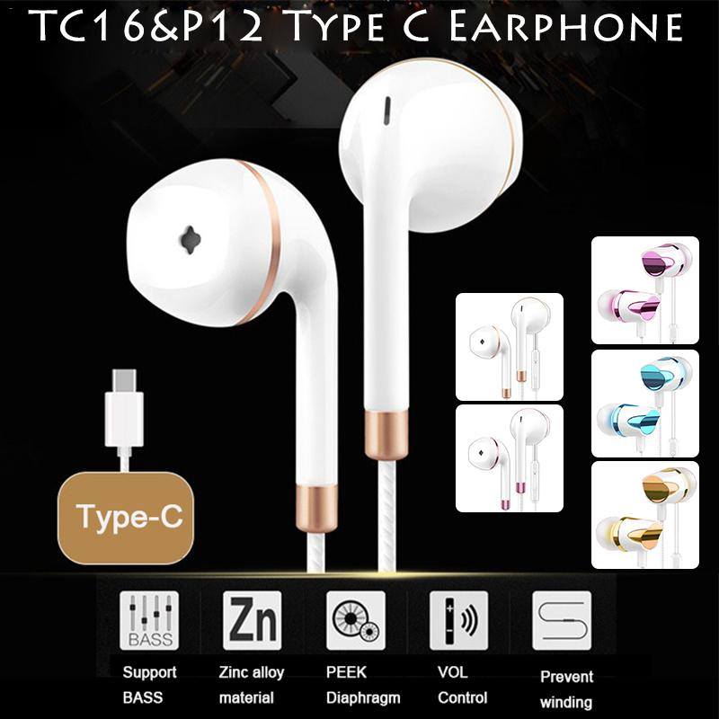 USB Type-C Earphones Wired Anti-wrap Line Control With Mic In-ear Style Earphones USB-C Earbuds For Xiaomi 8SE 8X Mix image