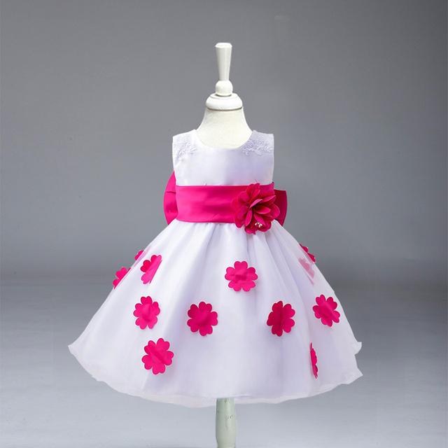 Varejo Do Bebê Da Menina de flor Vestido de Verão Crianças vestido de festa Menina Vestidos de Princesa 3 T-7 T Frete Grátis L-42