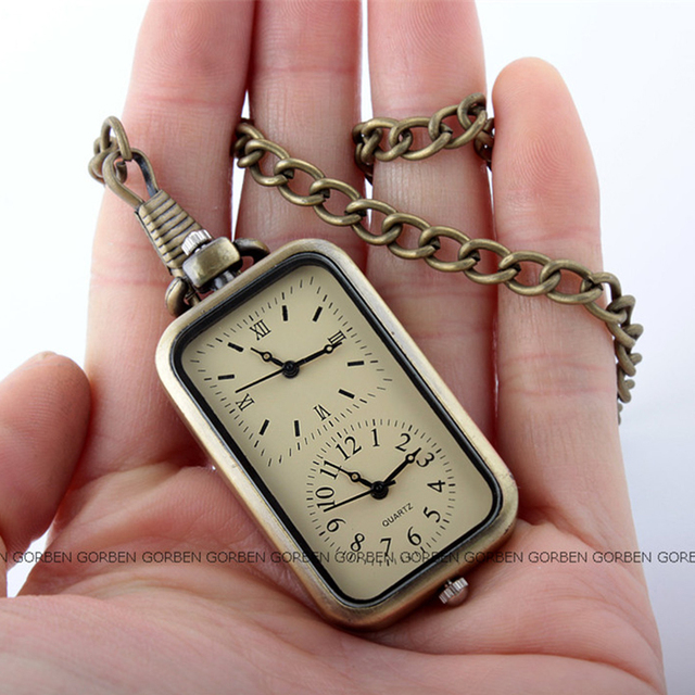 2017 Gorben watch fashion design double time small pocket watch women men exquisite mini size pendant pocket watches fob chain