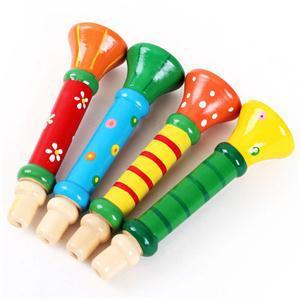 Colorful Toy Musical Instruments Wooden Trumpet Buglet Hooter Bugle Educational Toys For Kids Children Random Color image