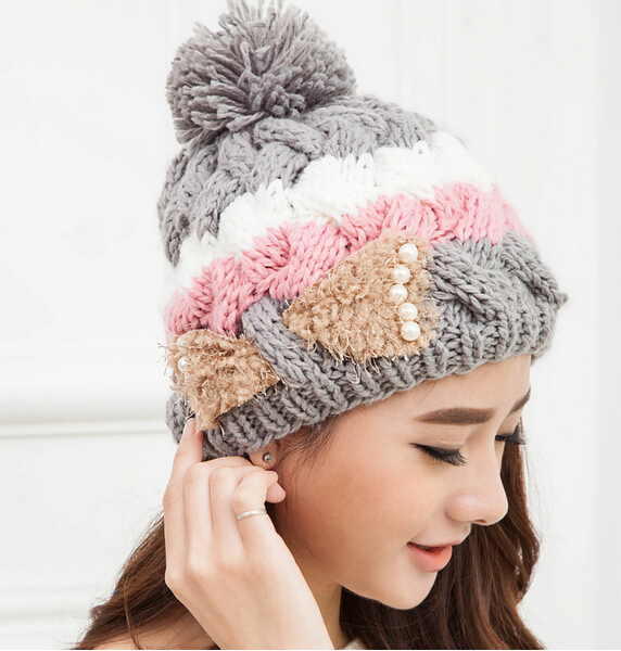 BomHCS Cute Women Handmade Thickened Beanie Lady Winter Warm Knit Hat Crochet Cap bomhcs cute women autumn winter warm thick handmade knit hats beanie cap hat