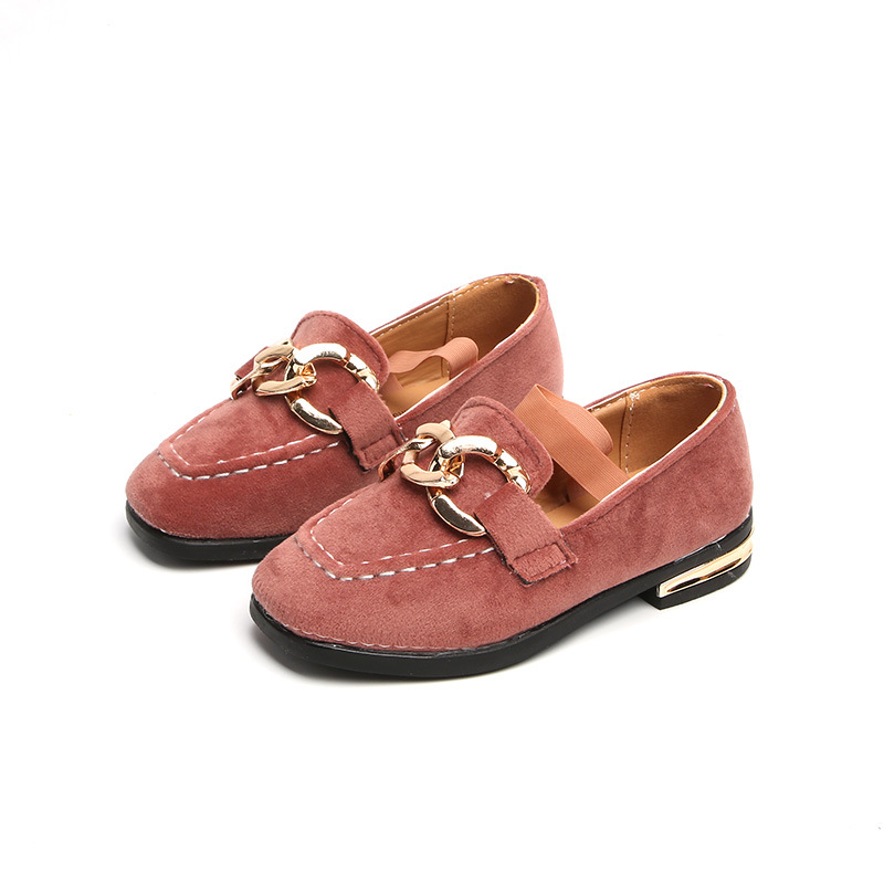 children spring autumn kids casual solid color boys Metal buckle embossing moccasins handwork cow muscle peas leather shoes