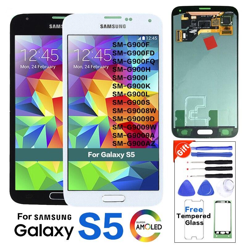 Tela lcd amoled super original para samsung galaxy s5 SM-G900 g900 i9600 g900r g900f g900h g900m display lcd 100% testado