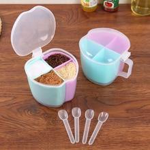 Cute Multi-grid Spice Jar Seasoning Box Creative Multipurpose Kitchen Transparent Salt Pepper Round Spoon Storage Bottles