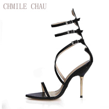 Brand New Gladiator High Heels Women Sandal Sexy Cross-Strap Women Shoes Snake Rave Club Party Shoes Rome Zapatos Mujer 3845C-6b