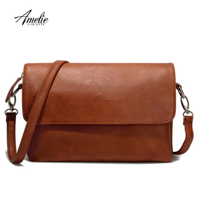 AMELIE GALANTI Women Shoulder Bags PU Leather Ladies Luxury Handbag Fashion Long Straps Small Browm Female Crossbody Bag