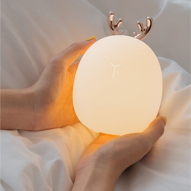 Lovely Cute Rabbit Deer LED Lamp Wireless Touch Sensor Silicone Children Kids Baby Bedside Decoration Christmas