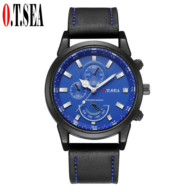 Fashion O.T.SEA Brand Blue Ray Glass Leather Watches Men Casual Military Sport Quartz Wristwatch Relogio Masculino 1291 fashion o t sea brand faux leather blue ray glass watch men military quartz wrist watches relogio masculino w042