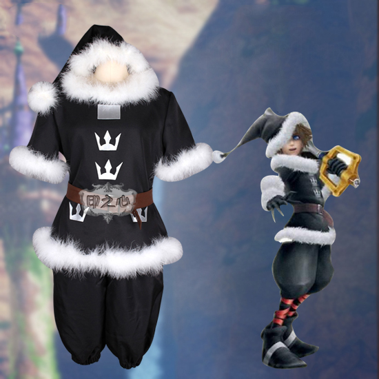 Anime! Kingdom Hearts Sora Black Uniform Cosplay Costume Halloween Carnival Outfit For Unisex Free Shipping