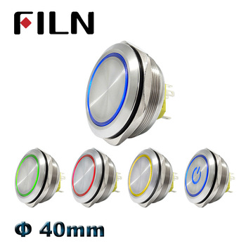 цена на 40mm IP67 waterproof metal push button switch with red green bule white yellow led switch pushbutton momentary latching on off