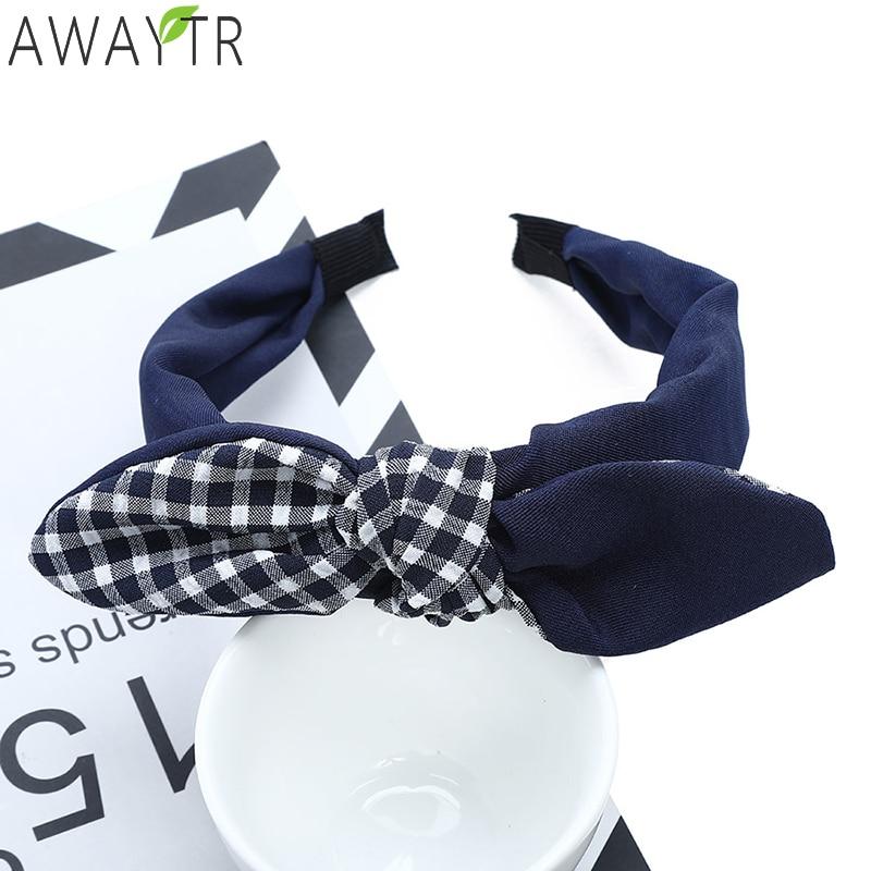 Top Quality Bow Headband Hair Hoop Headbands Navy Color Fabric Cloth Plaid Hair Band For Hairbands Womens Hair Accessories