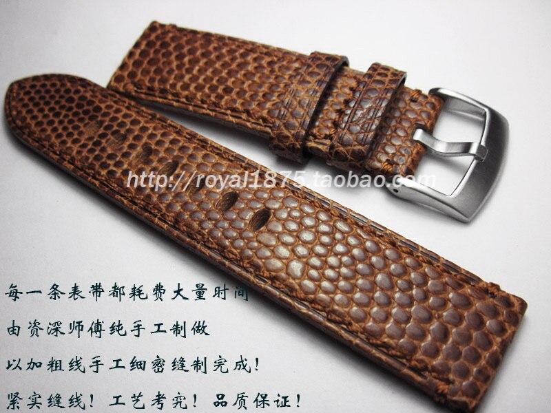 Bracelet de montre en cuir véritable bracelet de Grain de lézard brun pour montres classiques de musée fermoir à broche bracelet de montre de luxe 24mm