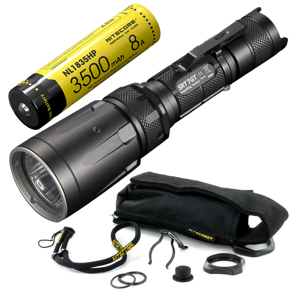 NITECORE 5 Color RGB+UV Light SRT7GT + Rechargeable Battery CREE XP L HI V3 1000LM Smart Ring Waterproof Flashlight Rescue Torch-in LED Flashlights from Lights & Lighting