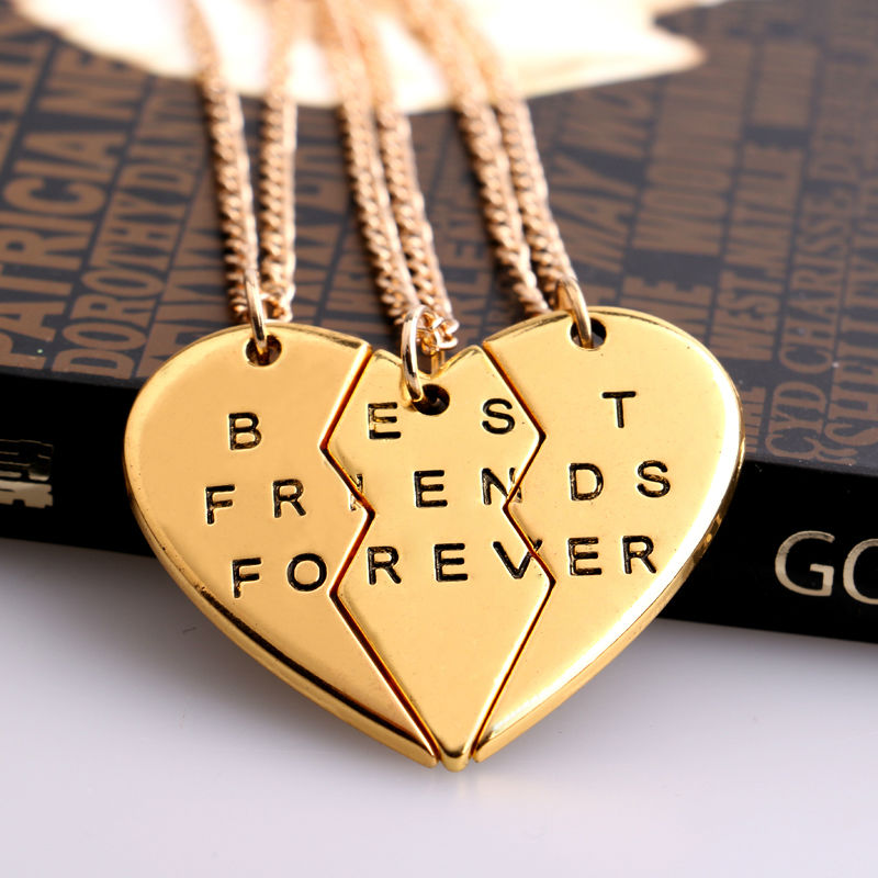 2/3 BFF Broken Heart Necklace Gold Silver Plated Best golden