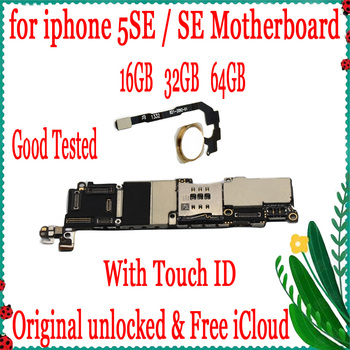 16GB 32GB 64GB Mainboard For Original iPhone 5SE SE Motherboard Factory Unlock With Touch ID Full Function IOS Logic Board