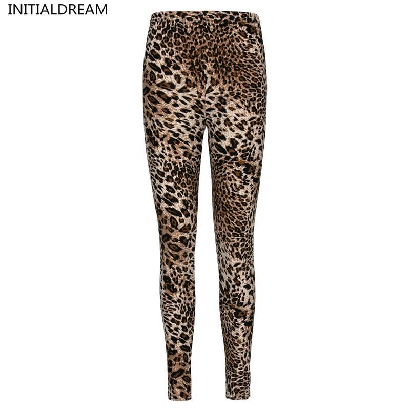 INITIALDREAM Women Leopard Print Leggings Spring And Autumn High Elasticity Pant Leggins High Waist Soft Woman Leggings