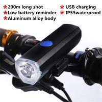 USB recargable Bicicleta Luz de la Linterna 300LM IP55 A Prueba de agua de la Aleación de Aluminio A2