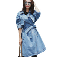 Fall Fashion Denim Coat Long   Trench   Female 2018 New Brand Jean Outwear Womens Windbreaker With Belt Double-breasted   Trench   Coats