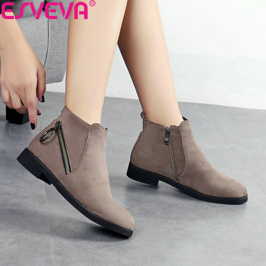ESVEVA 2019 Woman Basic Boots Low Heels Zipper Ankle Boots Shoes Short Plush Square Heels Autumn Ladies Shoes Round Toe 34-43 esveva 2018 chunky women boots short plush square heels ankle boots round toe zippers spring and autumn ladies shoes size 34 43