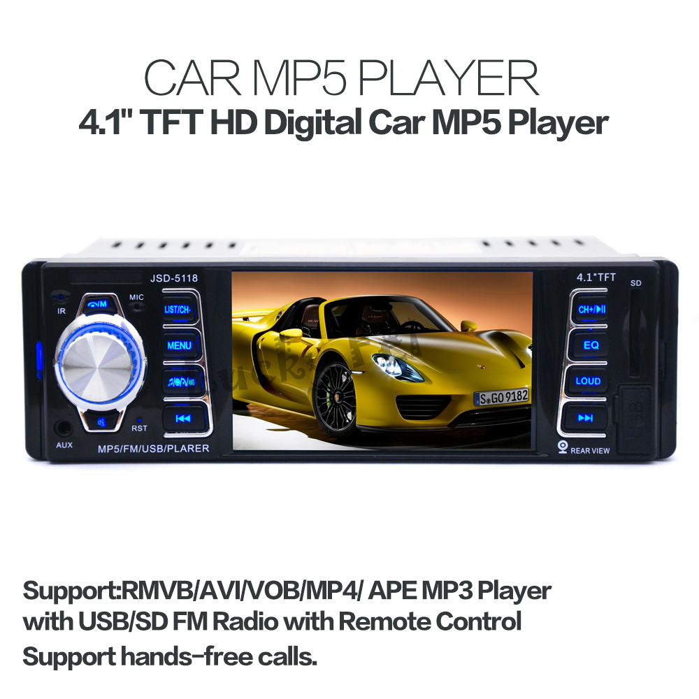 New support rear view camera 4.1'' inch TFT HD screen car radio player USB SD aux in 1080P radio 1 din car audio stereo mp5