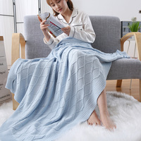 Nordic Style Cotton Solid Adult Soft Blanket Spring Knitted Woolen Home Sleeping Blankets Comfortable Breathable Sofa Blanket