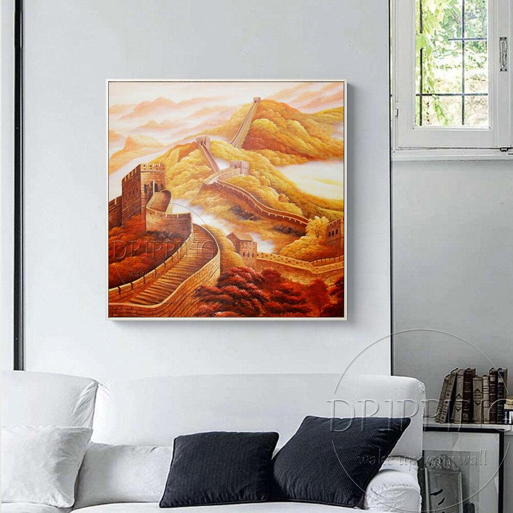 China Kunstenaar handgeschilderde Hoge Kwaliteit Speciale Landschap Grote Muur Olieverf Chinese Landschap Grote Muur Olieverf - 3