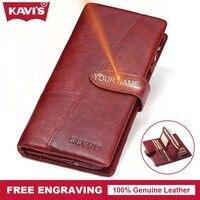 KAVIS Genuine Leather Women Wallet Female Perse Coin Purse Portomonee Walet Lady Gift Long Handy Clutch