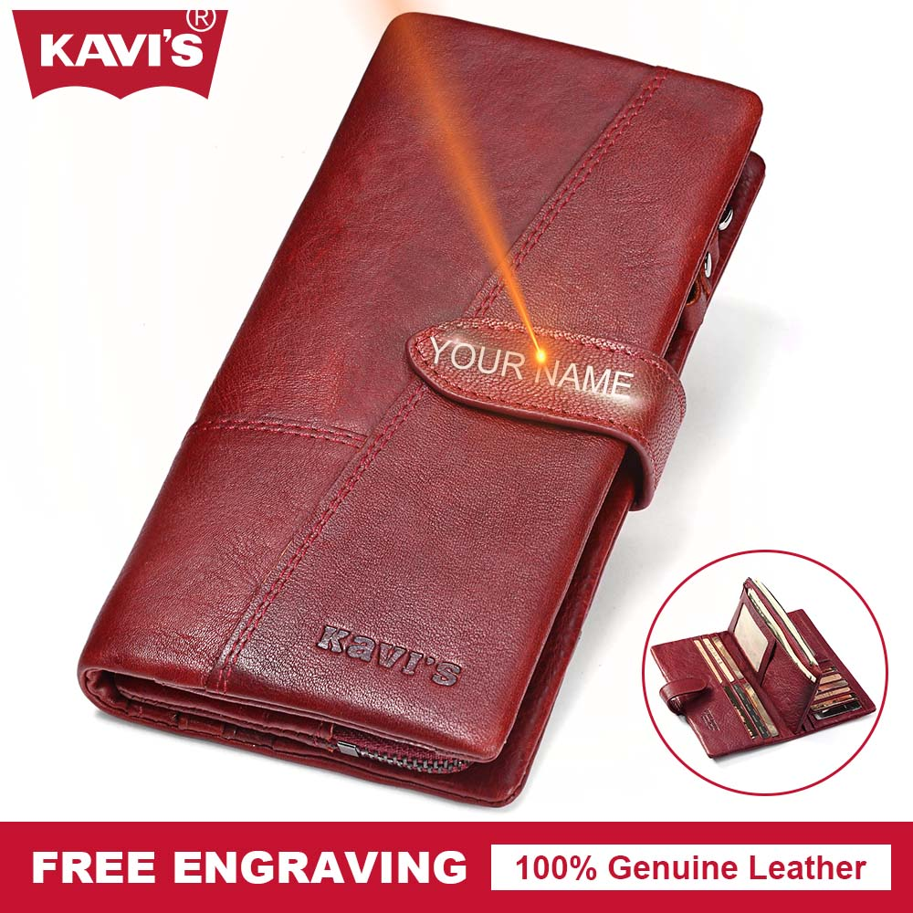 KAVIS Genuine Leather Women Wallet Female Perse Coin Purse Portomonee Walet Lady Gift Long Handy Clutch Card Holder Money Bag large capacity women wallet leather card coin holder money clip long clutch phone wristlet trifold zipper cash female purse