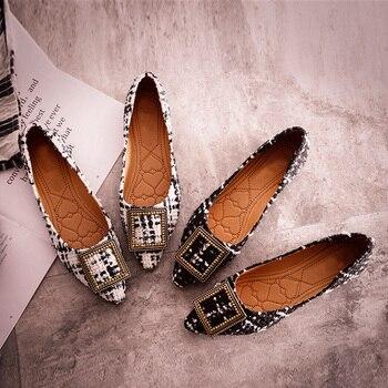 Sapatos de barco de moda mulheres dedo apontado escritório senhoras calçado plano apartamentos das mulheres elegantes marca de luxo plus size 10 a057 1