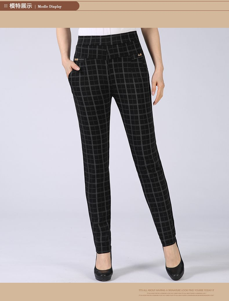 Spring Autumn Woman Casual Pant Navy Blue Black Khaki Gray Trousers Middle Aged Women Plaid Pattern Pants High Waist Trousers Mother Bottoms (13)