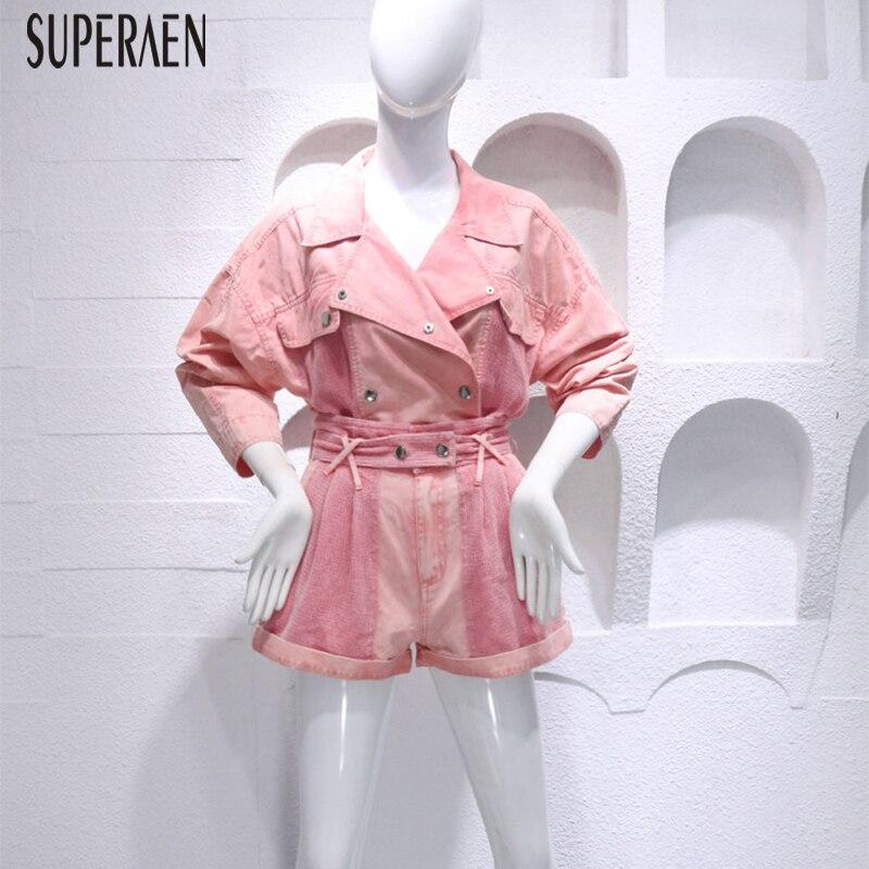 SuperAen Fashion Denim Women s Sets Summer New 2019 Casual Denim Tops Solid Color High Waist