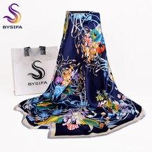 [BYSIF] 네이비 블루 실크 스카프 케이프 숙녀 새로운 브랜드 100% 실크 스퀘어 스카프는 봄 가을 우아한 스카프 목도리를 포장 110*110cm