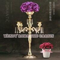 Бесплатная доставка 62 см (h) Свадебные кристалл настольные центральным золотой цветок стенд свадебные люстра 10 шт./лот