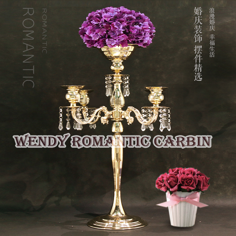 Wedding Crystal Table Centerpiece Gold Flower Stand Wedding Chandelier 10pcs/lot Free Shipping 62cm h