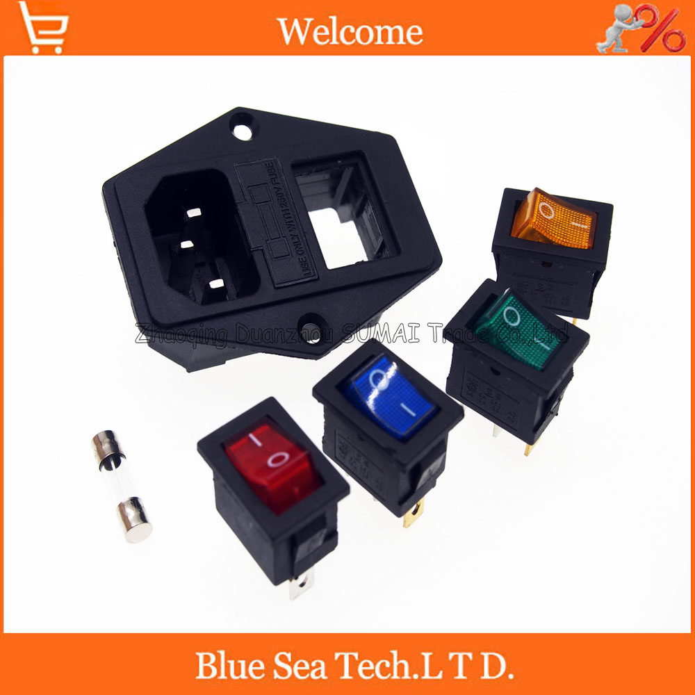 3 in 1 Rocker switch with light choose,AC-01A fuse power socket/Plug 3 Pin 15A 250V with Fuse Block + 10A fuse 20 pcs ry series metal 192 celsius 250v 10a cutoffs thermal fuse