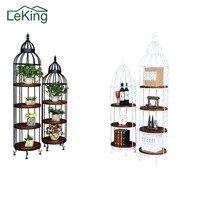 American Style Wrought Iron Wood Living Room Flower Pot Holder Display Rack Retro Bird Cage Staircase Flowerpot Racks
