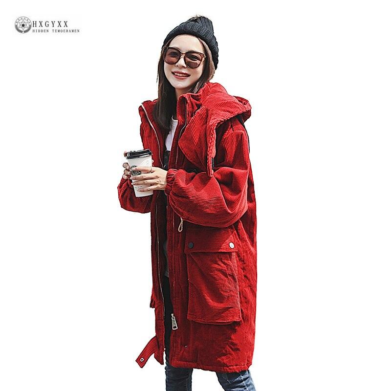 Новые осенние вельветовые зимнее пальто Для женщин для отдыха капюшоном хлопковые пиджаки 2019 молнии Однотонная одежда длинная парка OK1247