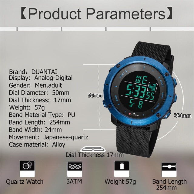 6.11DUANTAI Sport Watch Runing,Cycling,Swimming,Casual with Stainless Steel Buckle